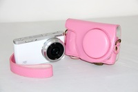Leather camera case bag cover protector guard for Samsung nx mini nxmini nxf1 Pink + Free shipping