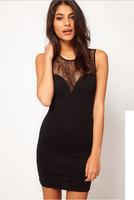 Through a sense of deep V dew back lace stitching Slim black sleeveless knit dress