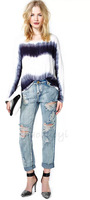 Tie-dye effect of easing the transition printed chiffon shirt round neck long-sleeved pullover