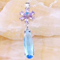Wholesale New 2014 Fashion 925 Silver Jewelry Pear Cut Blue Topaz & Tourmaline 925 Silver Free Chain Necklace Pendant