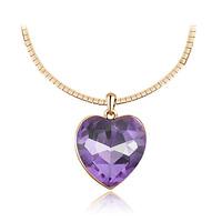 Austria crystal heart love necklace female fashion silver jewelry pendant short design chain girlfriend