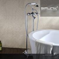 Copper hot and cold spunk bathroom bathtub shower set French fashion classical freestanding bathtub