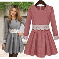 Brand New Women's Elegant Fashion Cotton+Spandex Red/Black Plaid Slim Lace Waist Long Sleeved Dress for 2014Spring/Autumn