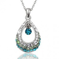 Birthday gift hot-selling angel tears crystal necklace female 925 silver pendant long necklace