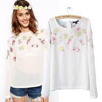 2014 women blouses European & American style carteira feminina long-sleeved round neck chiffon shirt elegant embroidered blouse