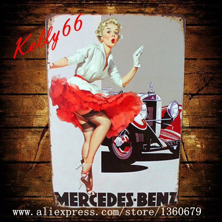 [ Kelly66 ] 20*30 CM Size The Car and Beauty Women old Metal Plaque Wall Bar Poster Craft AA-16(China (Mainland))