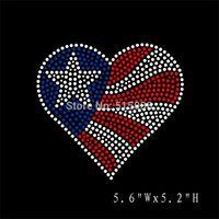DHL Free shipping 25pcs/Lot USA Flag heart hot fix rhinestone iron on transfers motif