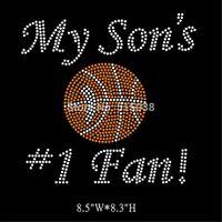 DHL Free shipping 15pcs/Lot My son's #1 fan Basketball hot fix rhinestone iron on transfers design