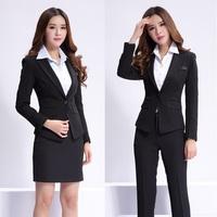 New 2015 Fall Winter Formal Feminino Blazer Women Skirt  Suits Work Wear Sets Ladies Office Uniform Styles Professional Clothes