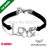 2014 Fashion LOVE Bracelet Lovers' Jewelry Charm Leather Bracelet For Women Wholesale($2 Off Per $12)