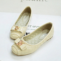 2014 new products Europe bowknot metal buckle square head single shoes comfortable soft bottom flat shoes 659-20