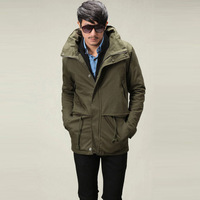 2014 Autumn and Winter Men's Warm Long Turn Down Jacket Black and Army Green Plus Size College Jacket Casacos Masculinos