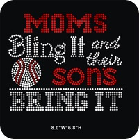 DHL Free shipping 30pcs/Lot Moms bling it and their sons bring it Baseball iron on rhinestone transfers design