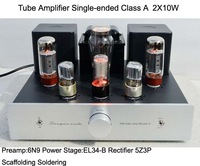 Tube Amplifier Single-ended Class A  2X10W HIFI Audio 6N9P Pre-amplifier EL34-B Power Stage 5Z3P Rectifier Scaffolding Soldering
