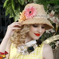 Romantic flower women straw hat female beach large brim sun hats summer sun-shading raffia millinery free shipping