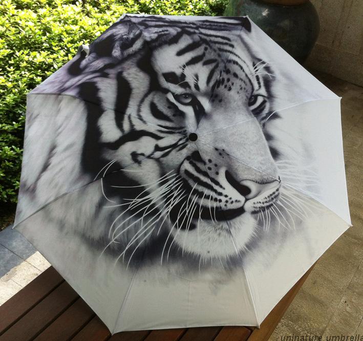 Traditional Chinese Oil Painting Umbrella For Men Anti-uv 3 Folding Animal Umbrellas Tiger(China (Mainland))