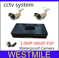 2ch cctv system,Mini 1.0MP day/night waterproof IR IP camera with P2P onvif and a mini 4ch 960P NVR , NVR KITFree shipping
