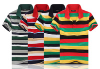 2014 summer new men's fashion trend striped shirt lapel four-color striped men's t-shirts male famous brand 2014 wholesale