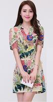 Women Print Dress 2014 Fashion Floral Print Summer Dress for Women summer dress 2014