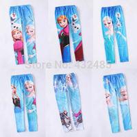 6pcs/lot Frozen Elsa Anna girl girls children legging leggings long pants trousers cosplay pants trousers free shipping