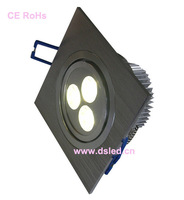 CE,good quality Square 3W LED Downlight,110-250VAC with LED driver,DS-CSL-10,3X1W,Warmwhite,white,