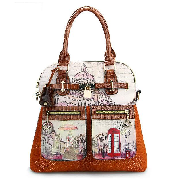 femmina di coccodrillo alligatore pittura a olio in pelle borsa messenger bag borse vintage in stile inghilterra borsa a tracolla borse borsa