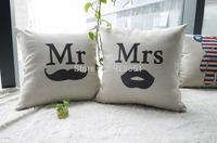 "18"" Decorative Nordic Ikea throw pillow cover, cotton linen couch pillow Mr & Mrs designed cushion cover almofadas decorativas"