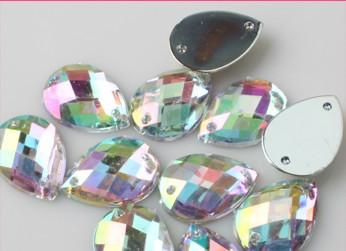Big Promotion Great Quality 500pcs/bag 8x13mm Acrylic Crystal AB Color Sew on Dazzling Rhinestone Drop Shape Free ship(China (Mainland))