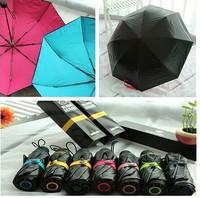 Black lemon umbrelladouble double black coating uv prevent gift box packing three folds umbrella