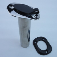 Stainless Steel Boat Fishing Rod Holder With Black Plastic Cap 15 Degree