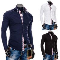 Famous Luxury Brand Men's Shirt Plaid Checker Men Clothing Long Sleeve 2014 Top Quality Big Size
