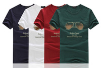 2014 summer new fashion classic glasses pattern round neck short sleeve t-shirt men's t-shirts wholesale popular youth