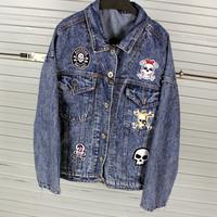 Free shipping!2014 autumn fashion HARAJUKU skull pirate labeling pocket loose plus size casual  denim outerwear