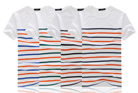2014 summer new fashion men's classic multi-colored striped t-shirt Men's round neck short sleeve t-shirt shirt bottoming