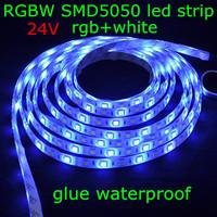 10pcs/lot,DHL/EMS,DC24V SMD5050 60leds/m 5m/reel rgb+white IP65 glue waterproof RGBW flexible decoration led strip light bulb