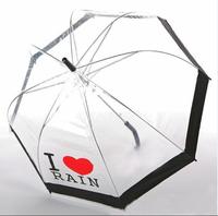 I Love Transparent Umbrellas Rain Thicken PVC Princess Girls Rain Umbrella Mushroom Design