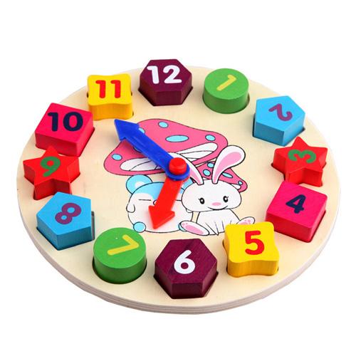 Free Shipping! Digital Geometry Clock Wooden blocks toys Children's Educational kid gift child(China (Mainland))