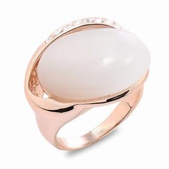Fashion Rose gold plated opal Rhinestone ring zircon singles line of natural stone rings CZ Zircon Austrian Crystal(China (Mainland))