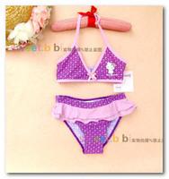 New Arrival children bikini swimsuits purple polka dots Bow falbala skirt girls split swimwear kids spa swimwear7084