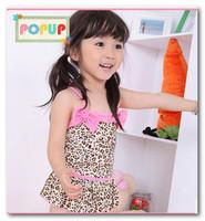Fashion girls Pony pink Bow falbala skirt Siamese swimwear leopard suspender Backless swimsuits kids spa beach swimwear 2-7T7077
