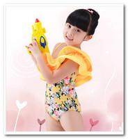 girls yellow floral Oblique Shoulder Siamese swimwear New children's swimsuit bath suit spa beachwear 3-7T in stock 7012