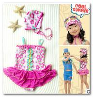 New kids floral spa beachwear Sunflower Bowknot falbala dress swimwear for girls Summer new children Siamese swimwear cute 7053