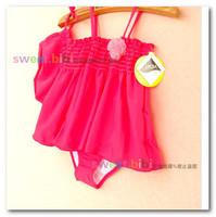 New Girl's Siamese swimwear Suspender Flower Princess Skirt Swimwear kid spa swimsuits 2pcs sets with hats 7059