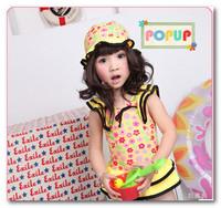 Fashion girls yellow floral falbala skirt swimwear children spa swimwear kids Siamese swimsuits have hats 5pcs/lot 2-6T 7071