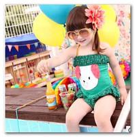 girls cute puppy dot Siamese swimwear New children's swimsuit bath suit spa beachwear 3-7T in stock 7008-2