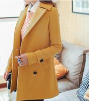 New fashion women wool coats female woolen cloak outerwear medium-long blended Women Woolen Coat Red/Khaki/Yellow Free Shipping