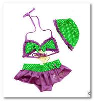 Fashion children's bikini swimsuit Polka Dot split 3pcs sets of baby girl swimsuit children bowknot bikini spa beachwear 7010