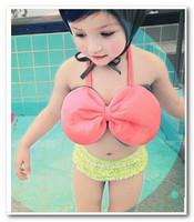 Summer Cute Big Bowknot girls Polka dots cake swimwear children bikini swimsuits kids split swimwear have hats 3pcs sets7056