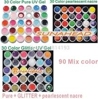 2014 new 90 Mix color nail art  uv gel polish , Pure + pearlescent nacre  + Glitter   colors tools Solid Builder set  kit drop