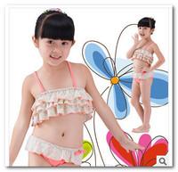 2014 New Kids split swimsuit bath suit spa beachwear girls pink floral bikini 3pc swimsuit children swimwear 3-7T 7009